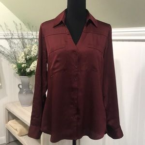 Express Portofino Slim Fit Burgundy Shirt